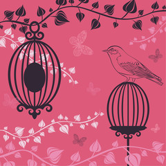 Recess Fitting Birds in cages The vector illustration of Birdcage and butterflies