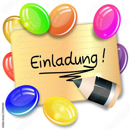 """karte - einladung - luftballons"""" stockfotos und lizenzfreie, Einladung"""
