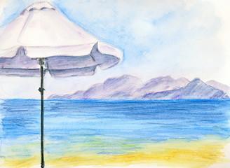 A white umbrella at the beach