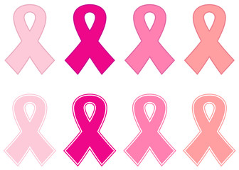 Pink cancer ribbon set isolated on white