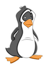 Sad Cartoon Penguin Vector Illustration