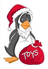 Santa Cartoon Penguin Vector Illustration