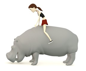 3d render of cartoon character with hippo