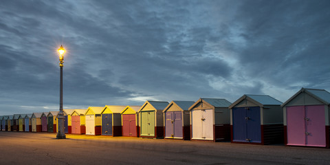 Hove Beach Huts at Night, East Sussex, UK.