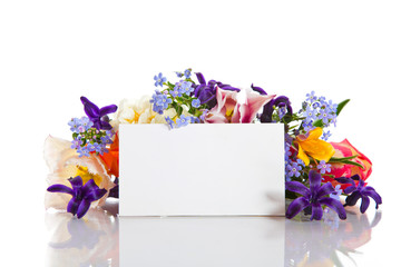 spring bouquet of flowers with a blank form
