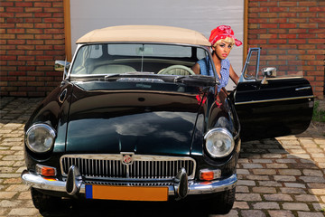 beauty, blond, car, girl, portrait, pin-up, retro, vinitage