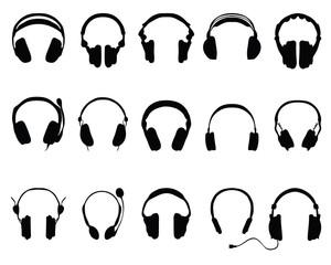 silhouettes of headphones 2-vector