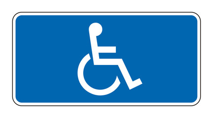Blue rectangle handicapped sign with wheelchair, vector