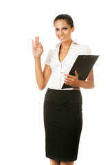 attractive business woman with black folder in hand