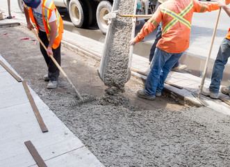 Roadworks - pouring cement