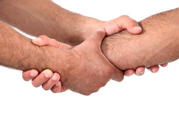 Double clasped handshake