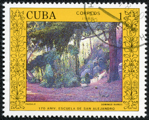 "stamp printed in Cuba shows the ""Landscape"" by Domingo Ramos"