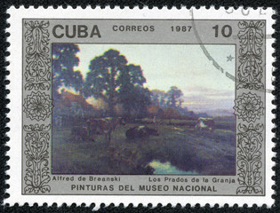"Stamp printed in CUBA shows the painting ""Farm Meadows"""