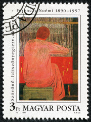 stamp printed by Hungary, shows Painting by Noemi Ferenczy