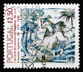 Postage stamp Portugal 1983 Hunting Scene, 1680, Decoration