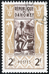 stamp printed in Dahomey shows Wood sculptor