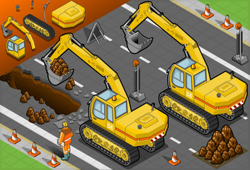isometric yellow excavator in rear view