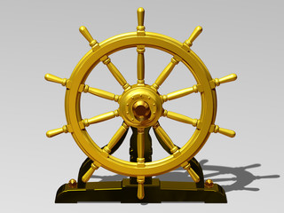 golden ship wheel in front elevation