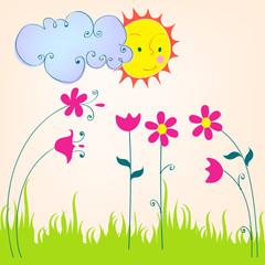 Cute spring meadow illustration