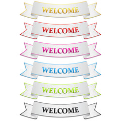 Set of white welcome bands with colorful edges