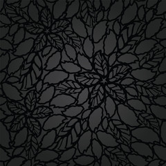 Seamless black leaves and flowers lace wallpaper pattern