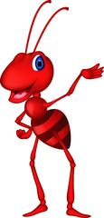 cute red ant cartoon