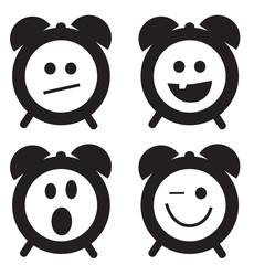 Smiles clock doodle cartoon set