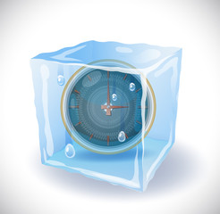 Ice cube with clock