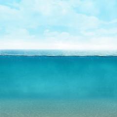 Fototapete - Underwater background vintage style