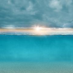 Fototapete - Himmel Sonne Wasser Konzept Hintergrund 3D
