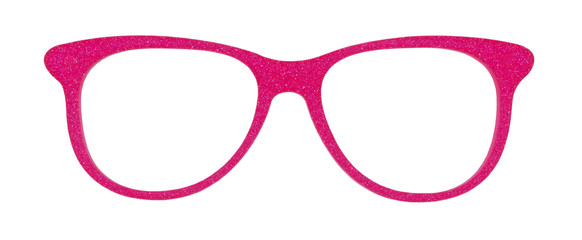 Photo of pink glasses isolated on white with clipping parths