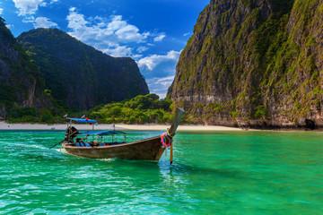 Printed kitchen splashbacks Light blue Thai boat