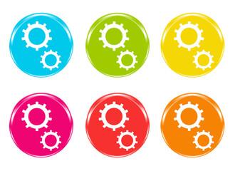 Iconos con engranajes en varios colores Fototapete