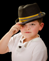 Portrait of child wearing fedora