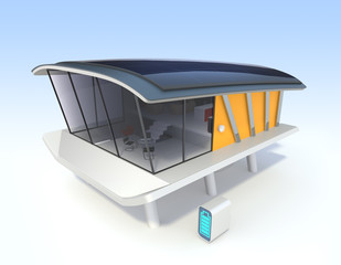 Energy efficient  house with solar panels, battery system.