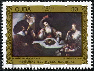 "Stamp printed in CUBA shows the ""The Five Senses"", anonymous"