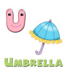 alfabeto, ombrello