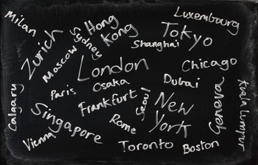 Financial Centres of the world on a blackboard