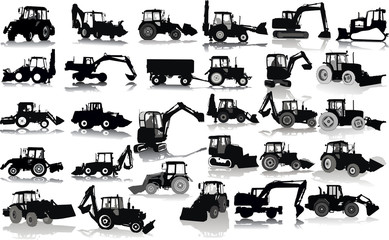 Set of 28 silhouettes of a tractors of road service