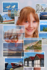 young girl choosing the place for summer holiday