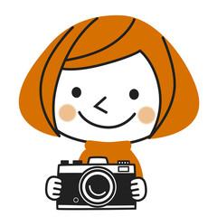 カメラ女子(オレンジ)