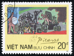 "stamp printed in VIETNAM shows painting by Pablo Picasso ""War"