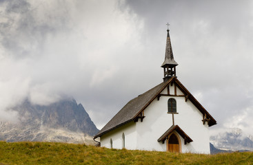 White plain mountain chapel at Belalp, Switzerland