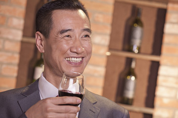 Smiling Businessman Holding Wine Glass