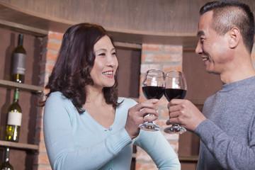 Mature Couple at a Winetasting, Toasting