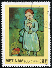 "stamp shows painting by Pablo Picasso ""Girl with dove"""