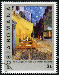 stamp shows Night on the Coffee Terrace by Vincent Van Gogh