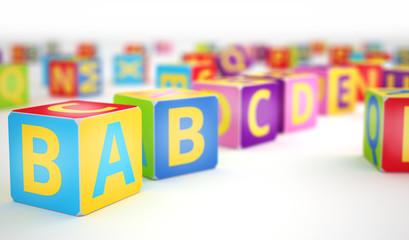 A,B,C cubes in row
