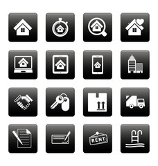 Real estate icons on black squares