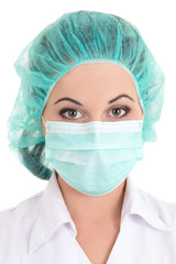 picture of female doctor in mask over white